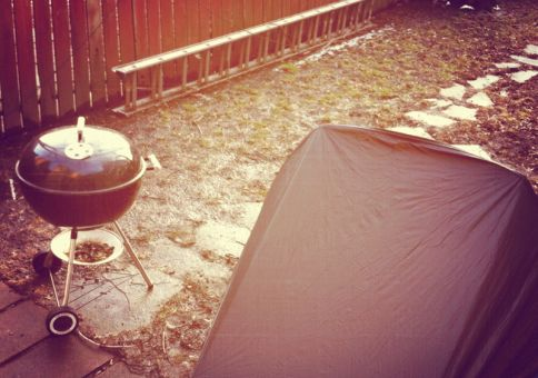 22) Camp out in our backyard