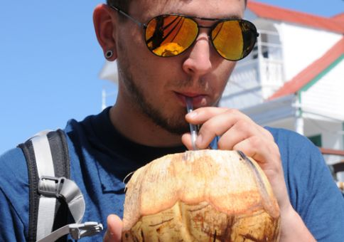 30) Drink water from a coconut