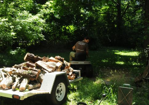 156) Split wood with a wood splitter