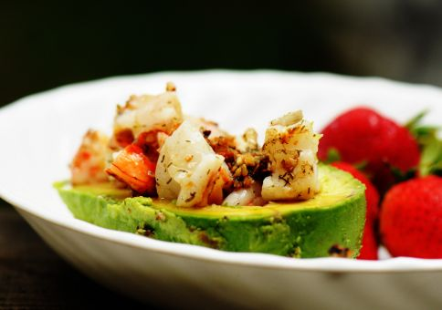 Shrimp-stuffed avocado  & strawberries