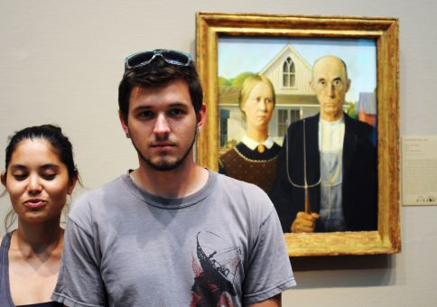 Grant Wood's 'American Gothic' (we got in trouble for this...)